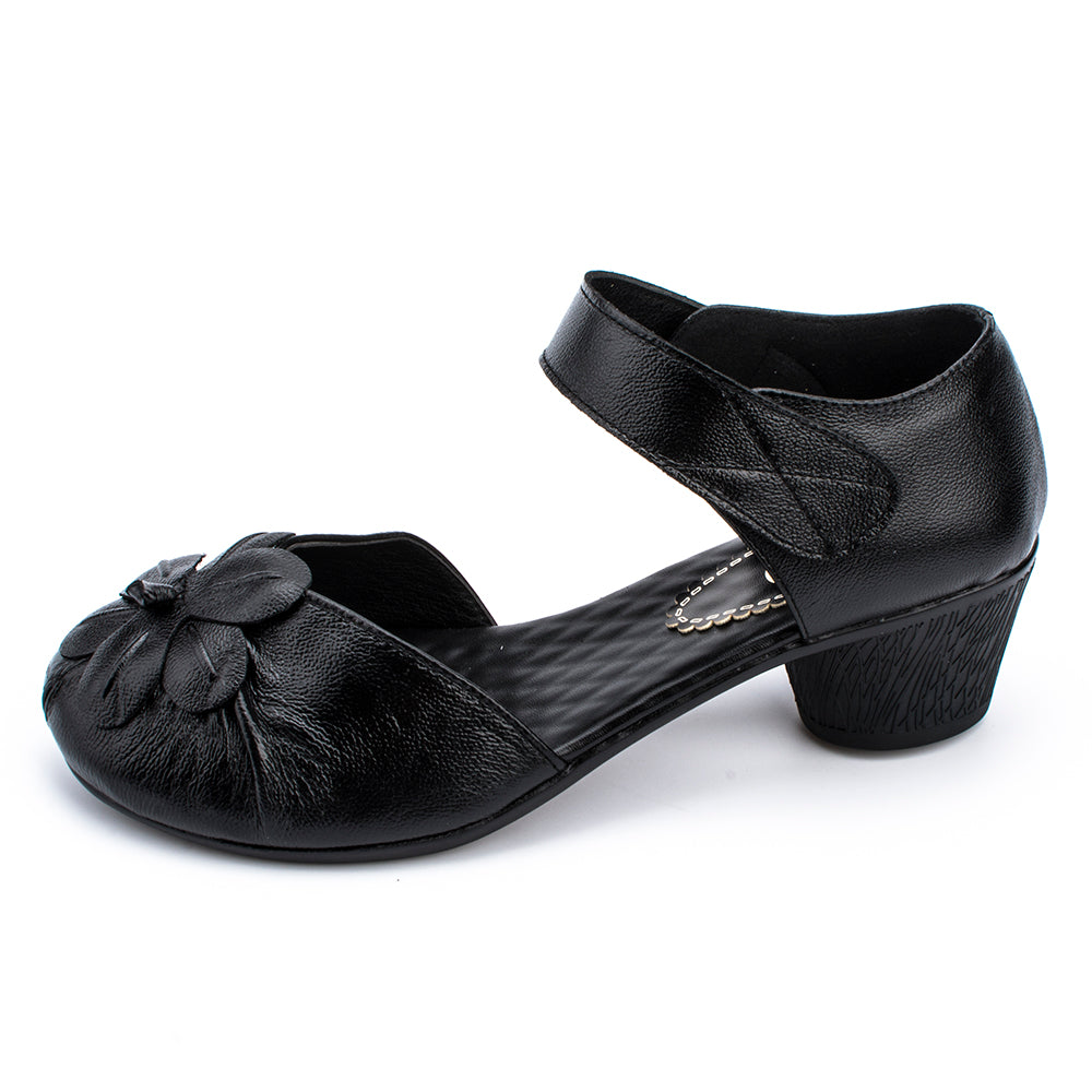 Genuine Leather Flower Vintage Pumps