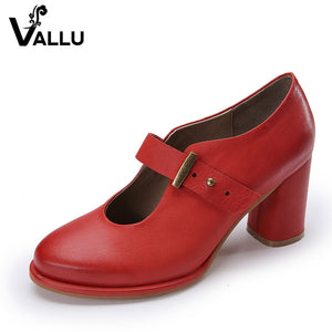 2017 VALLU Women Pumps Genuine Leather High Heel Shoes Genuine Leather Chunky Heels Buckle Handmade Vintage Style