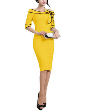 Womens Rockabilly Slash Neck Off Shoulder Flared Bodycon Pencil Dress