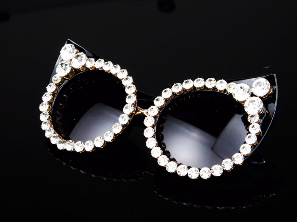 Vintage Luxury Rhinestone Sexy Cat Eyes Sunglasses