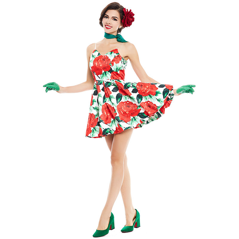 Floral Rose in Spaghetti Strap Retro Dress