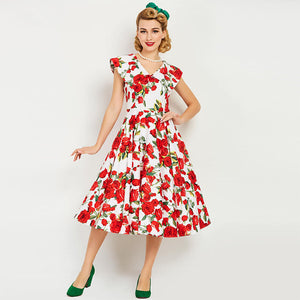 Summer Red Floral Party Dress