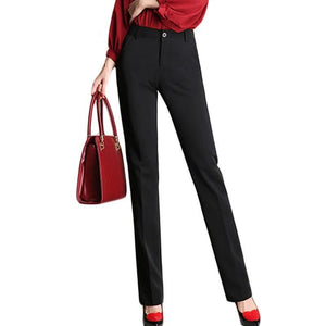 Womens Flat Front Straight Leg Stretch Slim Pencil Pants