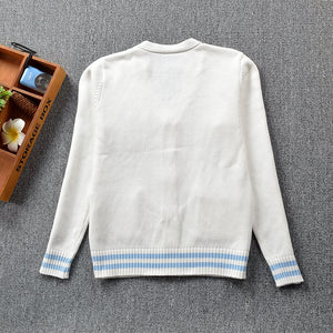 Cute Penguin Print Knitted Cardigan