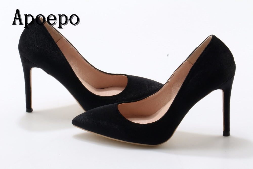Sexy Vintage Style Rockabilly Stiletto High Heel Pointed Toe Microfiber Shoes