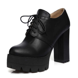 Womens Vintage Lace Up Round Toe Square Heel Platform Rockabilly Ankle Boots
