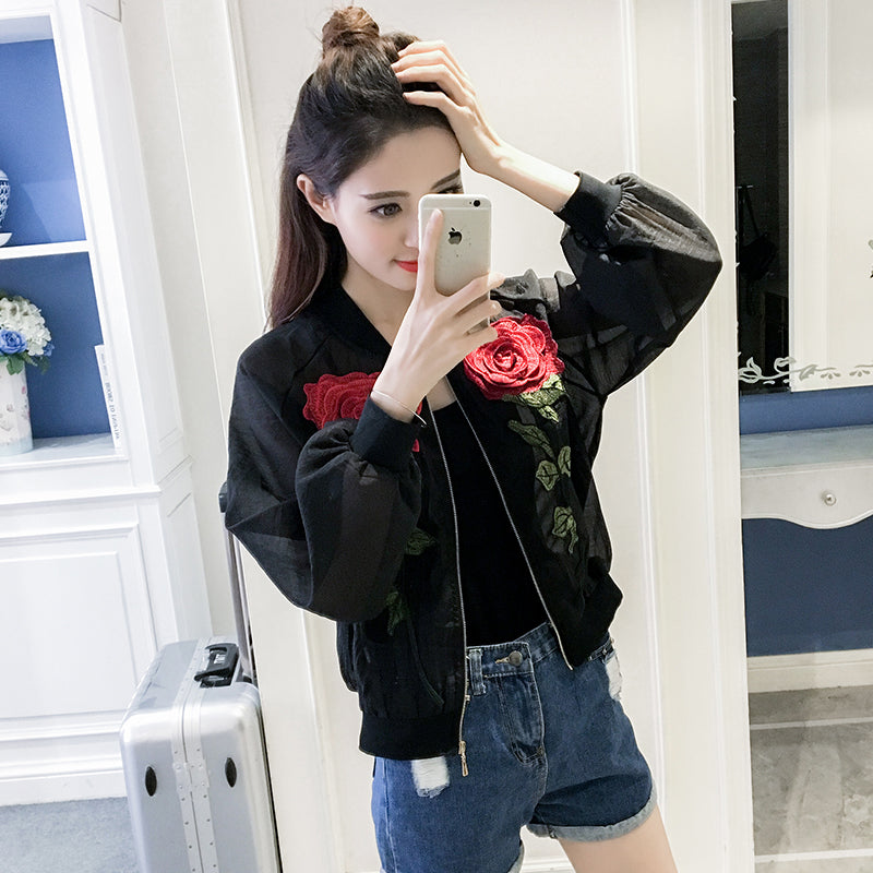 Gauze Rose Flowers Embroidery Bomber Jacket