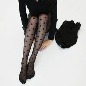 2017Sexy Women's Tights Classic Polka Dot Silk Stockings.Ladies Vintage Faux Tattoo Round Dot Stockings Pantyhose Female Hosiery