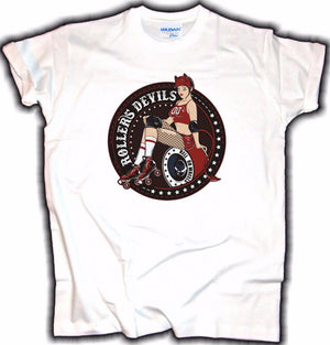 Old School Mens T-Shirt Roller Devils V8 Pin Up Rockabilly