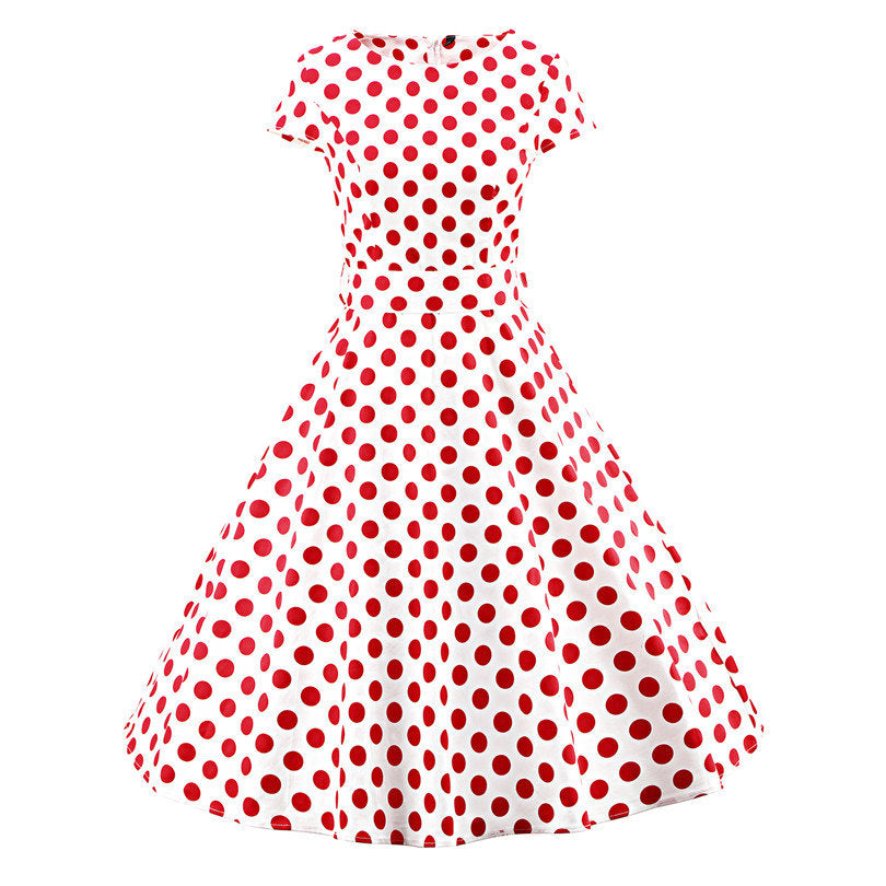 Elegant Womens O Neck Short Sleeve Rockabilly 50s Vintage Style Dress