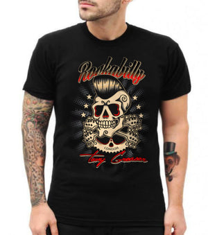 Rockabilly Greaser Skull Black Men Tee