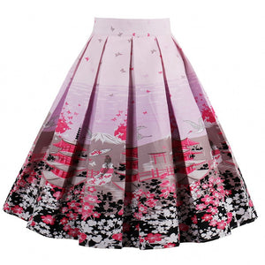 2018 Flower Print Swing Skirts Women High Waist 50s Summer Vintage Pink Rockabilly Skirt Elegant Retro Female Saia Midi Skirt