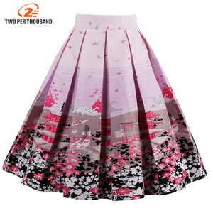 Pink Flower Print Elegant Retro Skirt