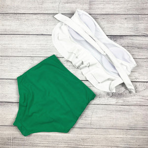 White and Green Ruffle Vintage High Waist Swimwear