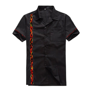Mens Rockabilly Vintage 50s Casino Bowling Shirt