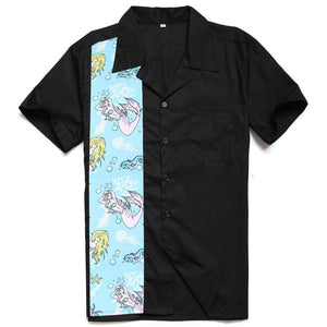 Men's Short Sleeve Casual Shirts in Mermaid Print