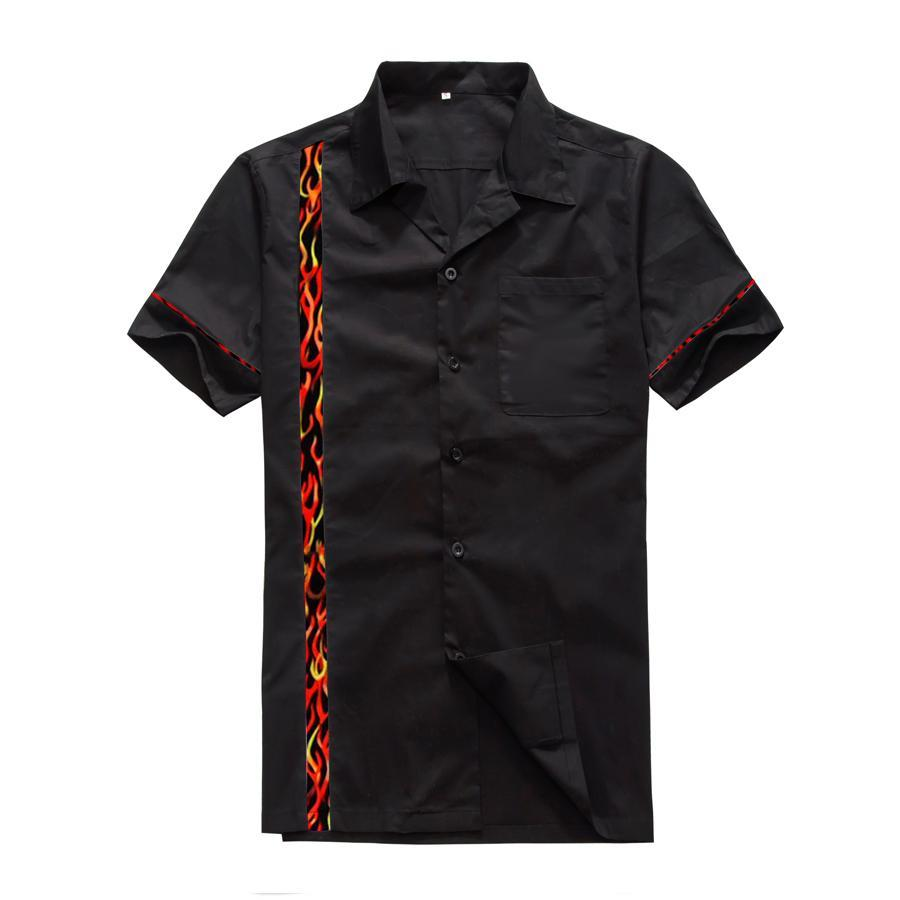 Men's Flame Panel Rockabilly Vintage Style Club Shirts