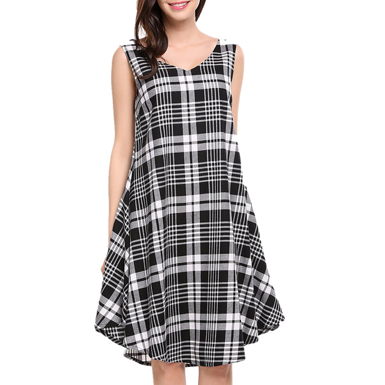 Plaid Rockabilly Vintage 50s Sleeveless A-line Hepburn Dress with Belt