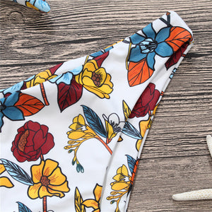 2018 New Sexy Bowknot Bikini Vintage Swimwear Women Swimsuit Summer Beach Wear Push Up Bikinis Set Bandage Floral Bathing Suits