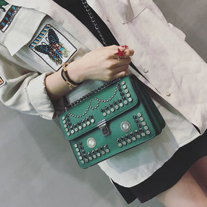 2018 Rivet  Fashion shoulder bag  Chain Punk Mini Crossbody Bag Women Messenger Bag Small Phone bag 825