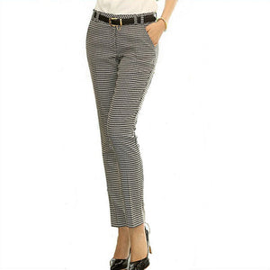 Womens Houndstooth Slim Straight Casual Pencil Pants