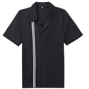 Casual Men's Rockabilly Black and White Stripe Shirt with Short Sleeves