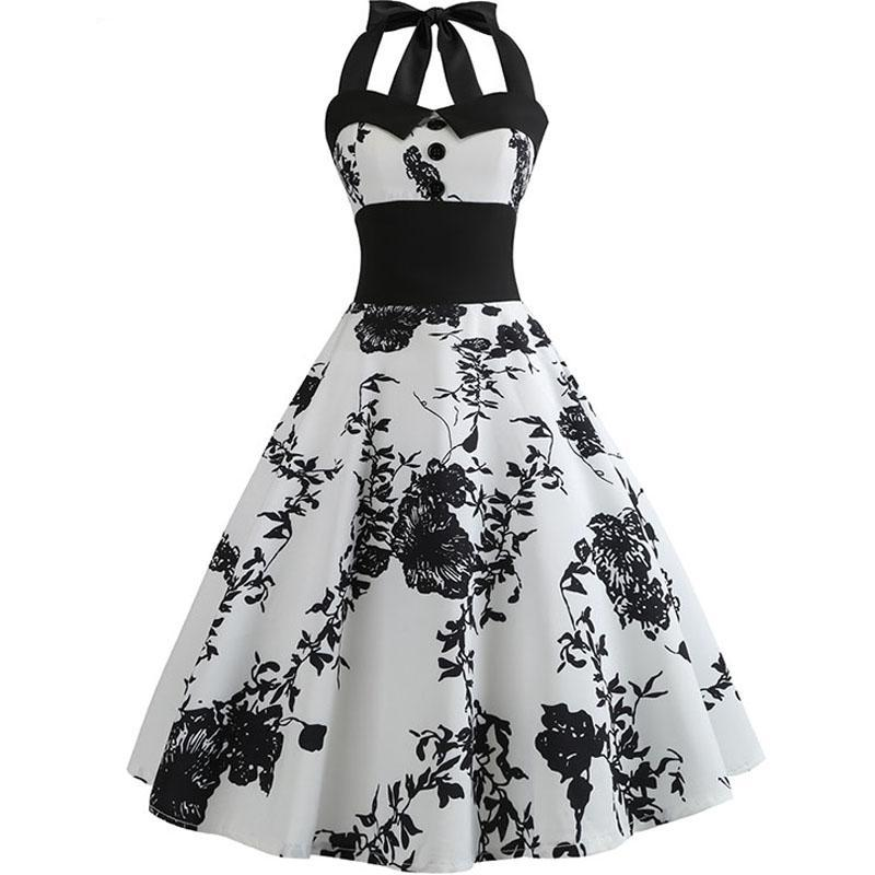 1940s Halter Vintage Style Rockabilly Elegant Dress