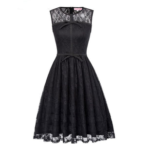 O-Neck Black Lace Vintage Sleveless Retro Rockabilly Dress