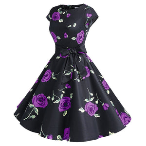 Elegant Floral Retro Swing Dress