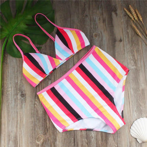 High Waist Rainbow Print Swimsuit