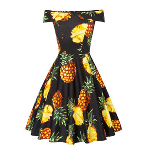 Womens Off the Shoulder Cotton Pineapple Print Rockabilly Dress