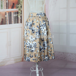 1940s Full Circle Floral Rockabilly Jive Swing Skirt