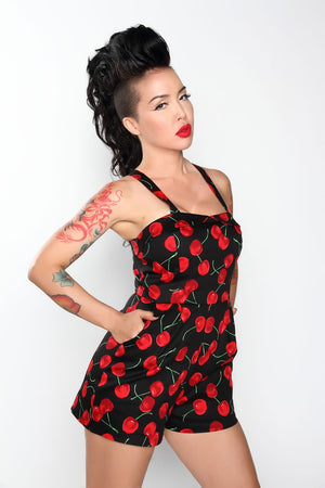 30- summer women vintage 50s black cherry print retro Yeeha Playsuit plus size 4xl romper jumpsuits rompers clothing pinup style