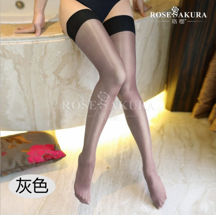 Contrast Color Thigh High Stockings