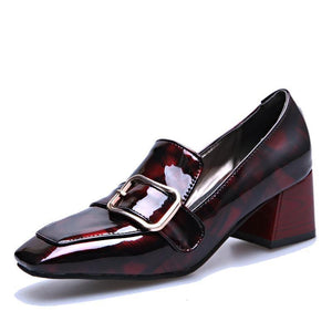 33-43 Vintage High Heels Shoes Women Pumps Patent Leather Women Shoes Heels