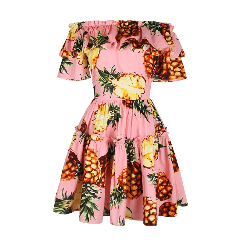 Womens Summer Pineapple Ruffle Vintage Style Rockabilly Dress