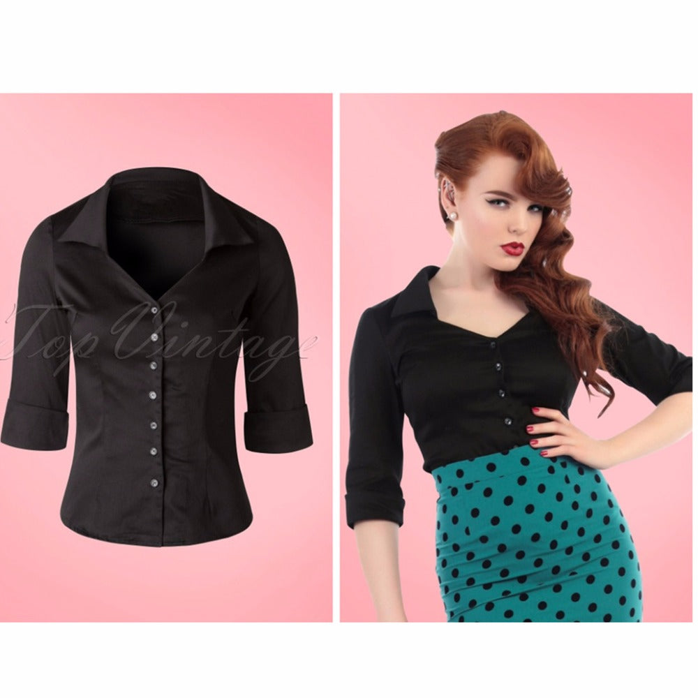 Womens Vintage Style 50s Classic Mona blouse in black fold over detail and 3/4 sleeve