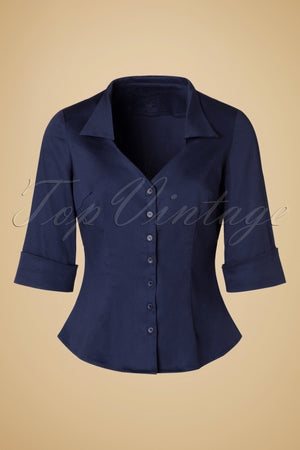 Womens Vintage 50s Classic Mona Pinup Fold Over 3/4 Sleeve Blouse in Navy