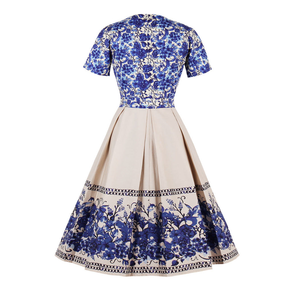 Vintage Ball Gown Dress in China Print
