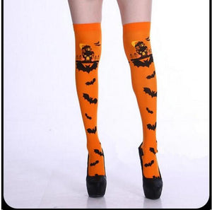 Halloween Bat Print Tight Stockings