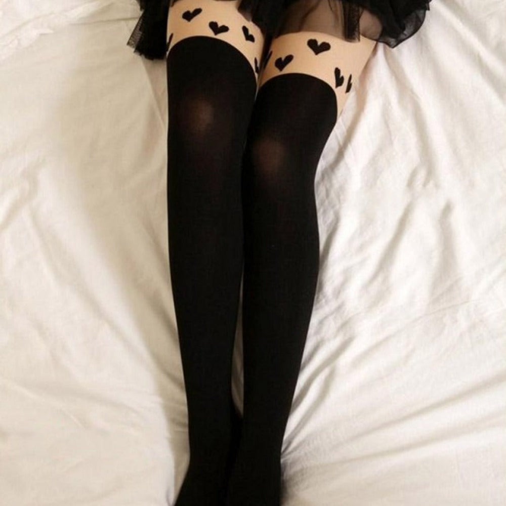5 Styles Womens Vintage Sexy Thin Print Lace Stockings