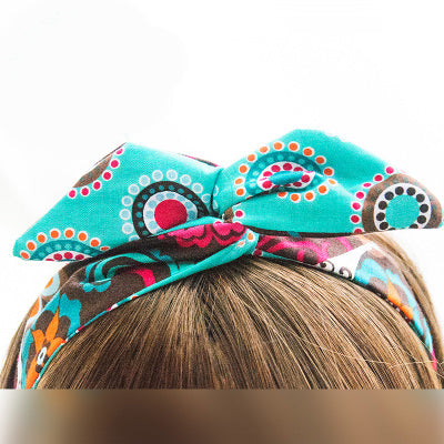 50's Rockabilly Blue Vintage Flower Print Wire Wrap Pin Up Headband Scarf Wired Hair Band Accessories