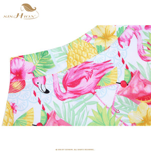 Flamingo and Pineapple Print Cotton Rockabilly Skirt