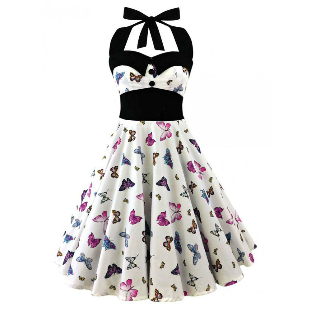 Halter Vintage Dress in Skull Floral Print