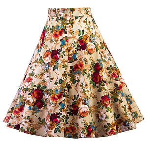 Floral  A-Line Pleated Skater Skirt