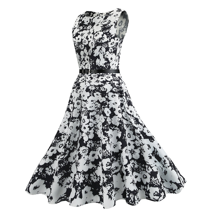 Retro Chic Style Floral Print Swing Dress