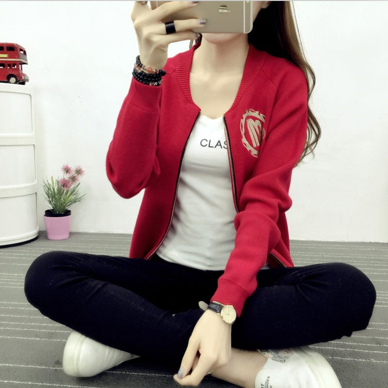 A short section of all-match baseball uniform spring 2016 new sweater jacket fit Korean knit cardigan thin coats