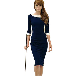 Womens Pinup Rockabilly Colorblock Bodycon Pencil Knee-Length Dress