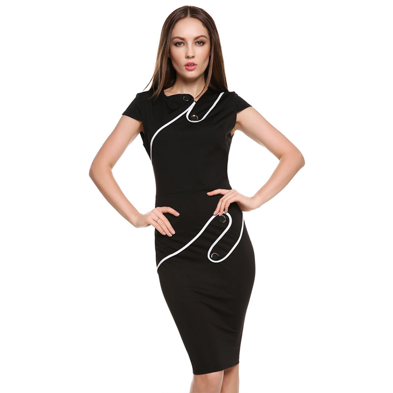 Womens Asymmetrical Pinup Rockabilly Bodycon Sheath Pencil Dress
