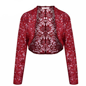 Women Lace Sequined Cardigan Sweater